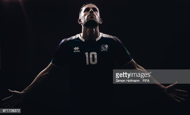Gylfi Sigurdsson of Iceland poses during the official FIFA World Cup 2018 portrait session at Resort Centre Nadezhda on June 11 2018 in Gelendzhik...