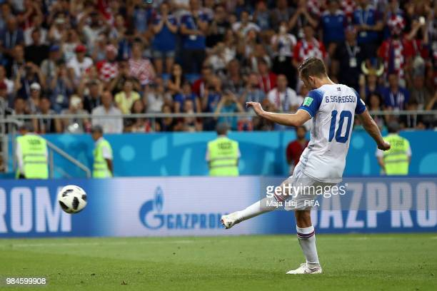 Gylfi Sigurdsson of Iceland scores his sides opening goal from a penalty to make the score 11 during the 2018 FIFA World Cup Russia group D match...