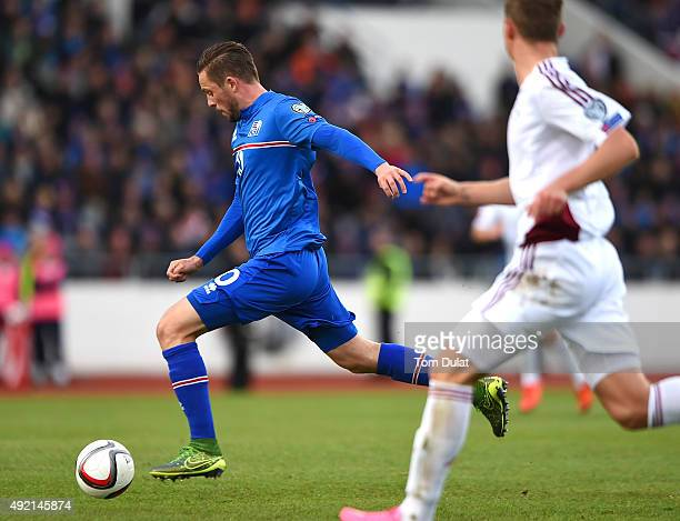 Gylfi Sigurdsson of Iceland scores his sides second goal during the UEFA EURO 2016 Qualifier match between Iceland and Latvia at Laugardalsvollur...