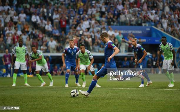 Gylfi Sigurdsson of Iceland shoots the penalty over the bar during the 2018 FIFA World Cup Russia group D match between Nigeria and Iceland at...