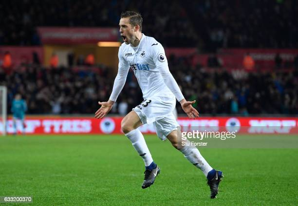 Gylfi Sigurdsson of Swansea City celebrates scoring his sides second goal during the Premier League match between Swansea City and Southampton at...