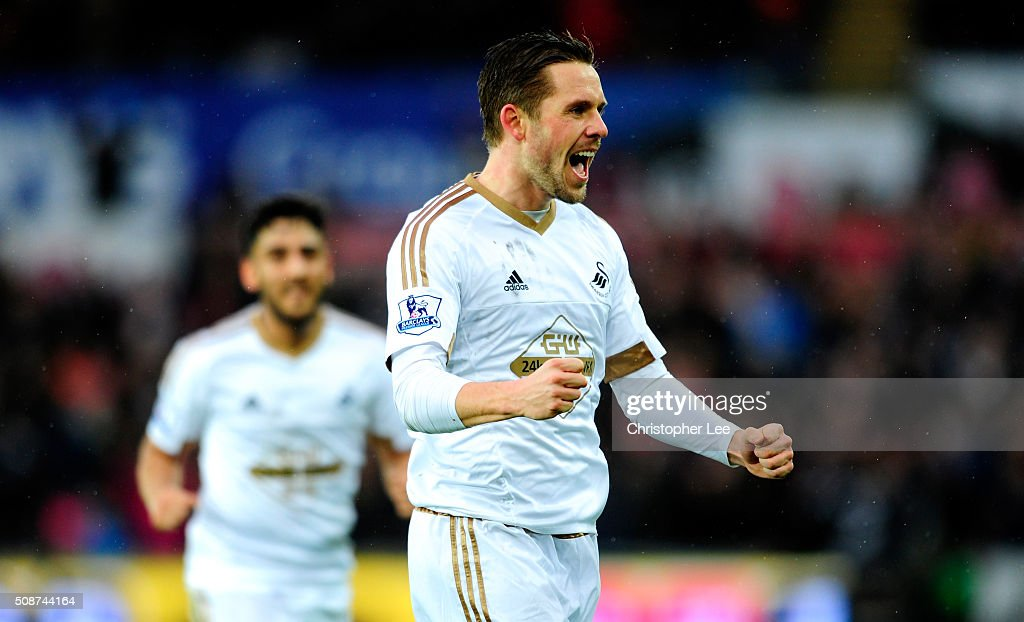 Gylfi Sigurdsson of Swansea City celebrates scoring his team's first goal during the Barclays Premier League match between Swansea City and Crystal Palace at the Liberty Stadium on February 6, 2016 in Swansea, Wales.