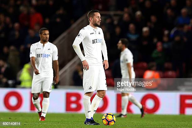 Gylfi Sigurdsson of Swansea City is dejected after Middlesbrough score their third goal of the game during the Premier League match between...