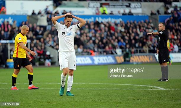 Gylfi Sigurdsson of Swansea City looks dejected after failing to score during the Premier League match between Swansea City and Watford at The...