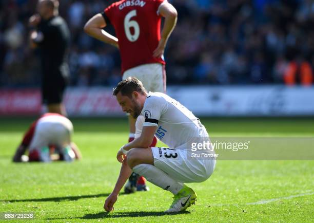 Gylfi Sigurdsson of Swansea City looks dejected after the Premier League match between Swansea City and Middlesbrough at the Liberty Stadium on April...