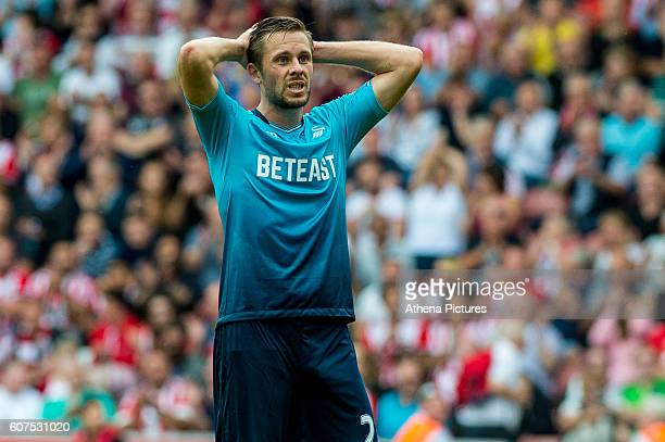 Gylfi Sigurdsson of Swansea City looks dejected during the Premier League match between Southampton and Swansea City at St Mary's Stadium on...