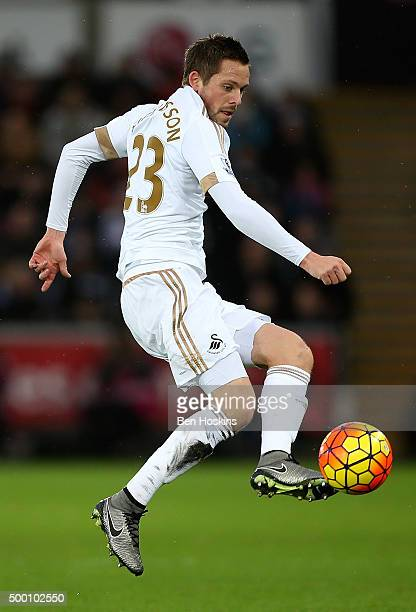 Gylfi Sigurdsson of Swansea in action during the Barclays Premier League match between Swansea City and Leicester City at Liberty Stadium on December...