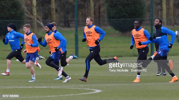 Gylfi Sigurdsson Theo Walcott and team mates during an Everton FC training session at USM Finch Farm on March 6 2018 in Halewood England