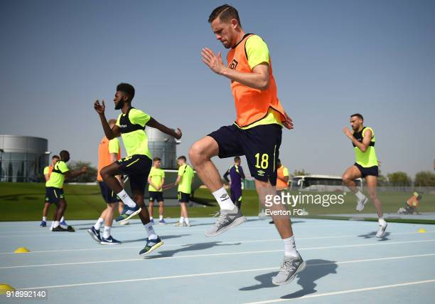 Gylfi Sigurdsson warms up during the Everton warm weather training camp at NAS Sports Complex on February 16 2018 in Dubai United Arab Emirates