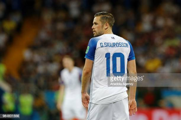 Gylfi Sigurosson of Iceland is seen during the 2018 FIFA World Cup Russia Group D match between Iceland and Croatia at the Rostov Arena in Rostov On...