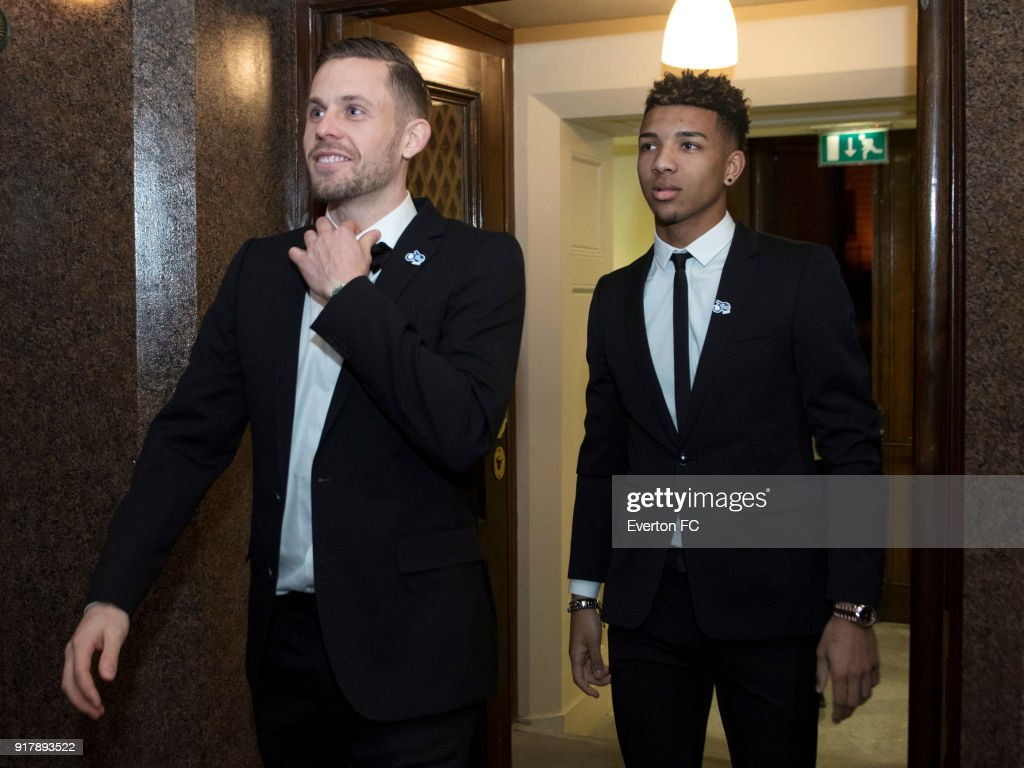 Gylfi Sigur?sson and Mason Holgate of Everton arrive during the Everton in the Community Gala Dinner at St Georges Hall on February 13, 2018 in Liverpool, England.