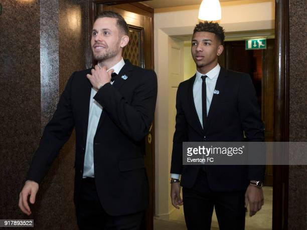 Gylfi Sigursson and Mason Holgate of Everton arrive during the Everton in the Community Gala Dinner at St Georges Hall on February 13 2018 in...