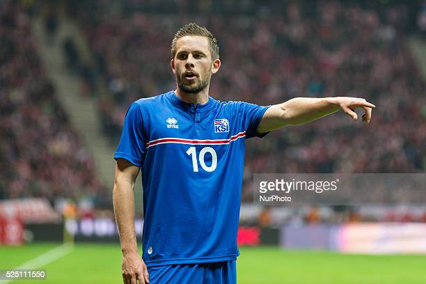 Gylfi Sigur��sson during the friendly match between Poland and Iceland at the National Stadium on November 13 2015 in Warsaw Poland