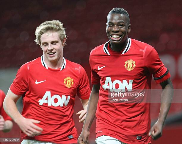 Gyliano van Velzen of Manchester United Under18s celebrates scoring their second goal during the FA Youth Cup QuarterFinal match between Manchester...