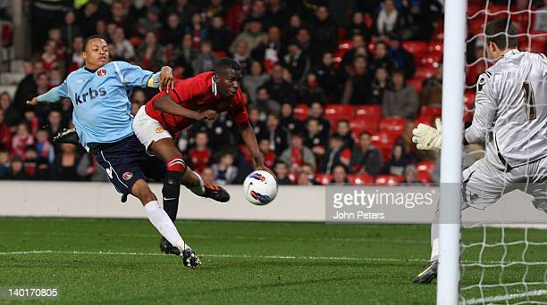 Gyliano van Velzen of Manchester United Under18s scores their second goal during the FA Youth Cup QuarterFinal match between Manchester United and...