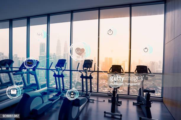gym against fitness interface concept design - medical icons stock pictures, royalty-free photos & images