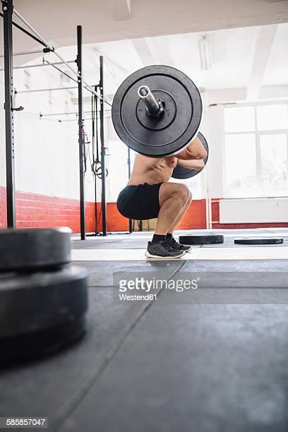 gym athlete doing weight training