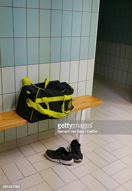 Gym Bag And Sports Shoes In Changing Room