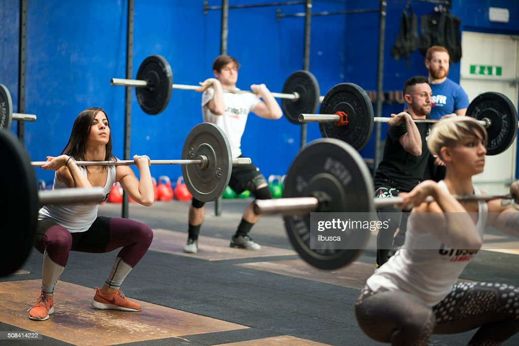 gym gym workout: Weightlifting class : Stock Photo
