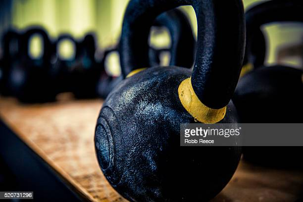 gym kettlebell close-up at gym - robb reece stock pictures, royalty-free photos & images