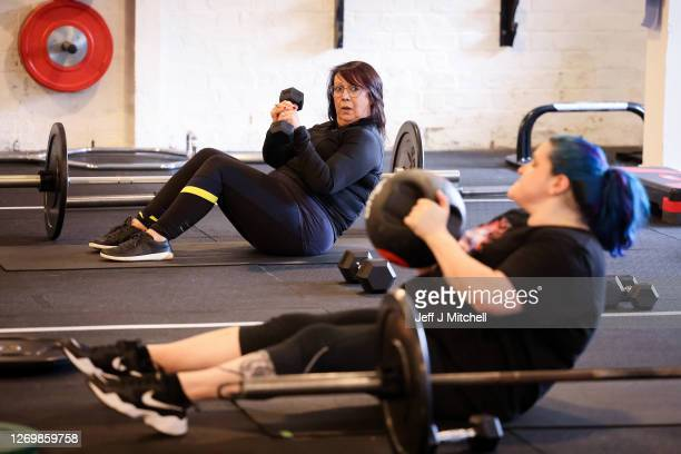 Gym members at Strong Like a Mutha take part in a fitness class on August 31 2020 in Glasgow Scotland Indoor gyms and pools were closed for almost 24...
