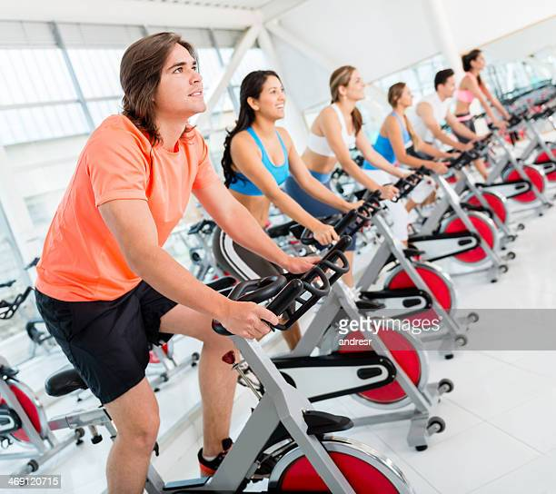 Gym people in a spinning class