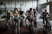 gym training on stationary bikes!