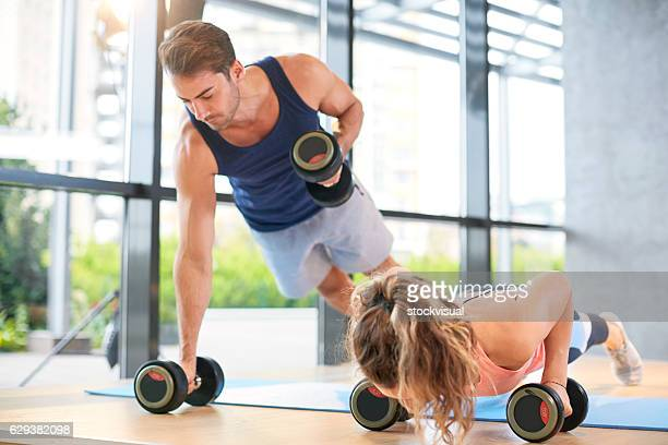 gym training push ups - circuit training stock photos and pictures