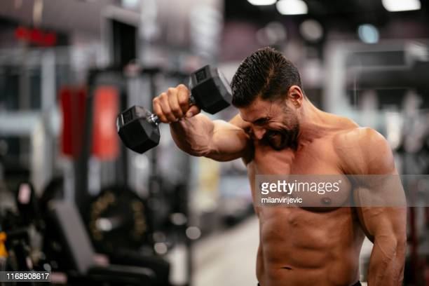 gym. workout. weight. training. bodybuilding. muscular man having training with weights. - dumbbell stock pictures, royalty-free photos & images