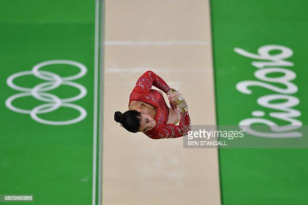 US gymnast Alexandra Raisman practices on the vault during a training session at the women's Artistic gymnastics at the Olympic Arena on August 4...