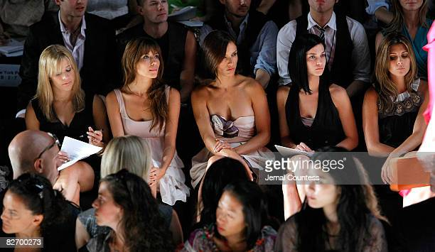 Gymnast Alicia Sacramone Actress Tamara Feldman Actress Leonora Varick Musician Leigh Lezark and Actress JamieLynn Sigler watch the BCBG Max Azria...