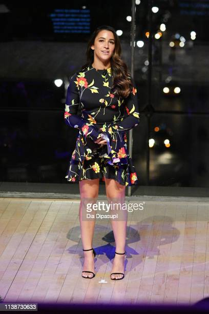 Gymnast Aly Raisman speaks onstage during the 2019 AE Networks Upfront at Jazz at Lincoln Center on March 27 2019 in New York City