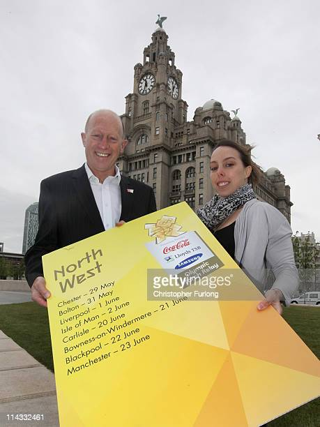 Gymnast Beth Tweddle and Andy Worthington Chair of the North West Regions and 2012 Nations and Regions Group pose outside the Liver Building to mark...