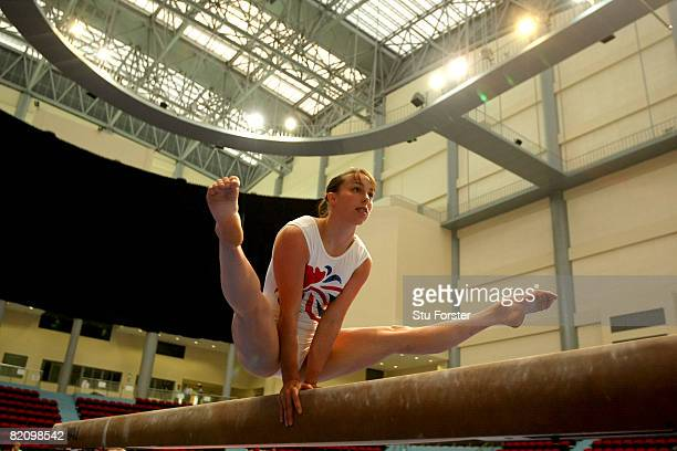 Gymnast Beth Tweddle balances on the beam during Great Britain Women's Artistic Gymnastics training at the Macau Gymnastics centre in Macau on July...