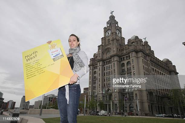 Gymnast Beth Tweddle poses outside the Liver Building to mark the announcement of the first locations to be confirmed on the London 2012 Olympic...