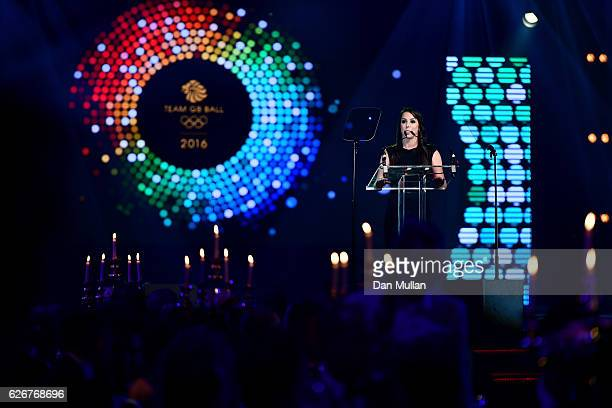 Gymnast Beth Tweddle seen onstage at the Team GB Ball at Battersea Evolution on November 30 2016 in London England