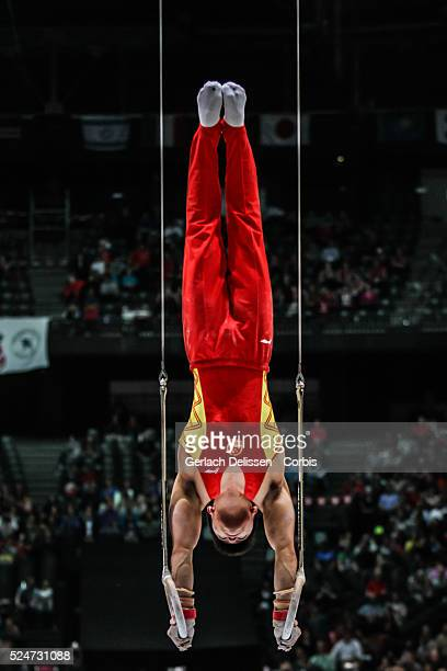 Gymnast Chaopan Lin in action on the rings during the Men's All-Around Final of the 44th Artistic Gymnastics World Championship in Antwerp , October...