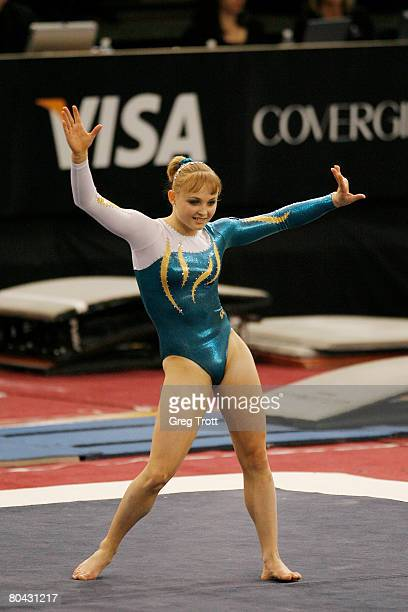 Gymnast Dasha Joura of Australia performs the floor exercise during the 2008 Pacific Rim Gymnastics Championships March 29 2008 at the San Jose State...