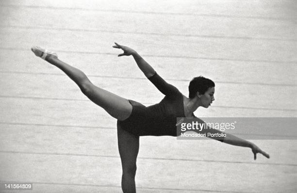 Gymnast doing an exercise at the Olympic Games Rome 1960