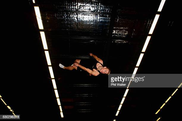Gymnast Dylan Schmidt on the trampoline during the NZOC New Zealand GymSports Announcement at Tri Star Gymnastics on May 11 2016 in Auckland New...