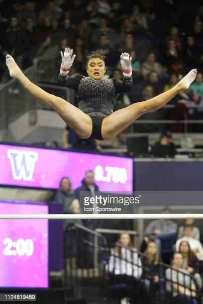UCLA gymnast Felicia Hano performs her routine on the uneven bars during a women's college gymnastics meet between the UCLA Bruins and the Washington...