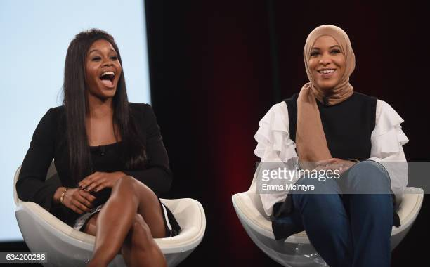 Gymnast Gabby Douglas and Champion Fencer Activist Ibtihaj Muhammad speak onstage during The 2017 MAKERS Conference Day 2 at Terranea Resort on...