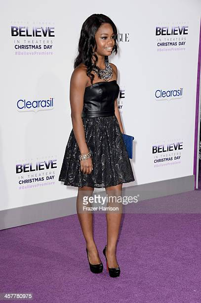 Gymnast Gabby Douglas arrives at the premiere of Open Road Films' Justin Bieber's Believe at Regal Cinemas LA Live on December 18 2013 in Los Angeles...