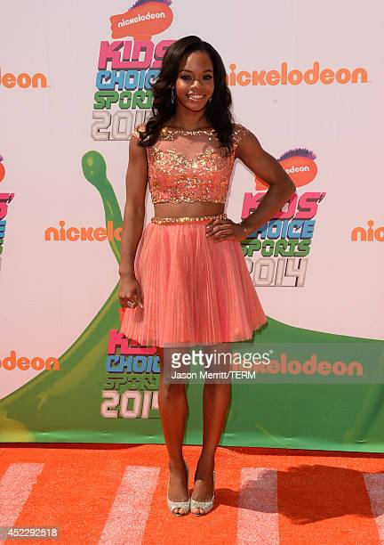 Gymnast Gabby Douglas attends Nickelodeon Kids' Choice Sports Awards 2014 at UCLA's Pauley Pavilion on July 17 2014 in Los Angeles California