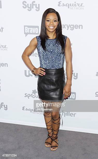 Gymnast Gabby Douglas attends the 2015 NBCUniversal cable entertainment upfront at The Jacob K Javits Convention Center on May 14 2015 in New York...