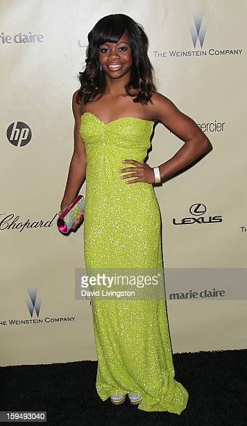 Gymnast Gabby Douglas attends The Weinstein Company's 2013 Golden Globe Awards After Party at The Beverly Hilton hotel on January 13 2013 in Beverly...