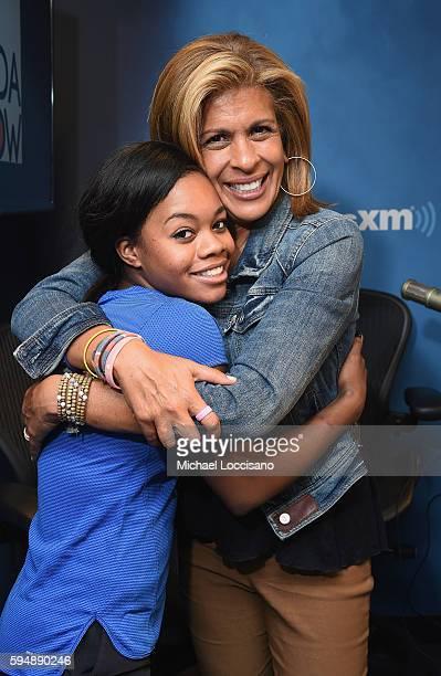 "Gymnast Gabby Douglas poses with host Hoda Kotb following ""The Hoda Show"" on SiriusXM's TODAY Show Radio at SiriusXM Studios on August 24, 2016 in..."
