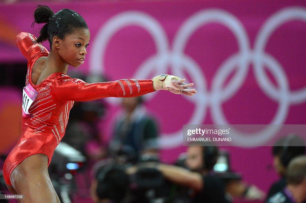 US gymnast Gabrielle Douglas performs on : News Photo