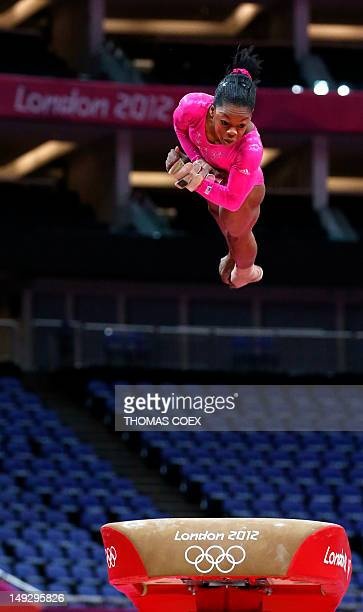 US gymnast Gabrielle Douglas takes part in a training session at 02 North Greenwich Arena in London on July 26 2012 on the eve of the start of the...