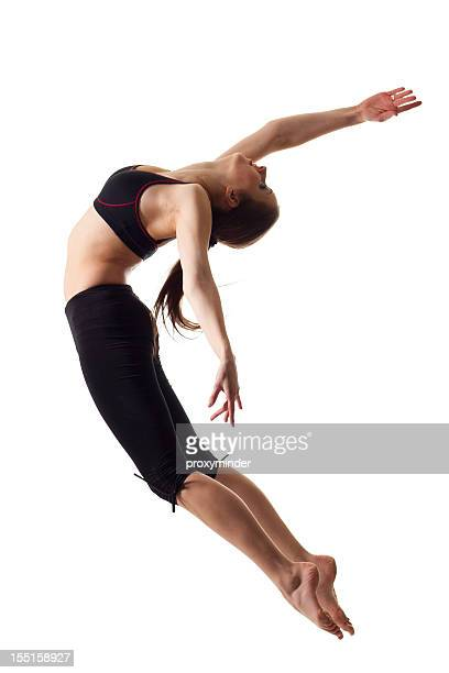 gymnast girl isolated on white - ballerina feet stock photos and pictures